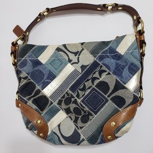 Coach Denim Patchwork Bag Hobo Blue Gray